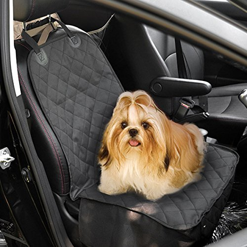 Pedy Pet Front Seat Cover for Cars, Dog Car Seat Cover, WaterProof & Nonslip Rubber Backing with Anchors, Black
