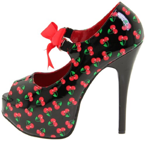 Blk Zapatos Couture Pat cherries Print De Mujer Tacón Pinup H7pOxqwUH