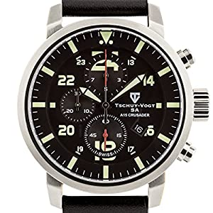Tschuy-Vogt SA A15 Crusader Mens Swiss Chronograph Watch - Black Genuine Leather Strap, Black Dial, Silver Case