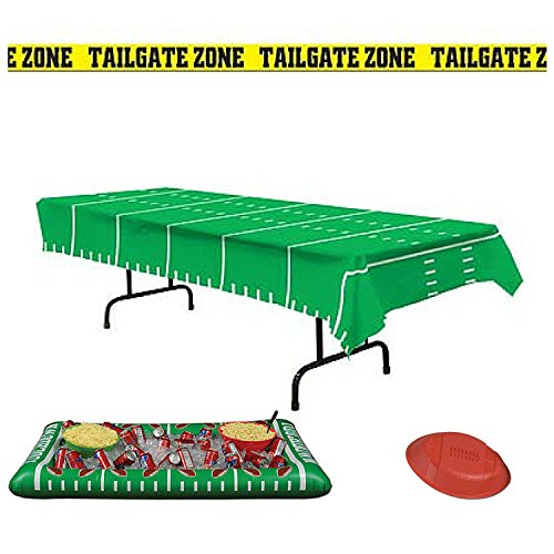 Beistle Tailgate Zone Football Party Decorations Pack Table Cover Inflatable Cooler Serving Tray and Banner (Tailgating Decorations)