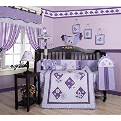 GEENNY Boutique 13 Piece Crib Bedding Set, Lavender Purple Butterfly