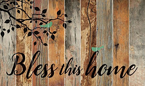 (P. GRAHAM DUNN Bless This Home Bird Leaves Silhouette 28 x 47 Wood Large Barn Board Wall Art Sign Plaque)