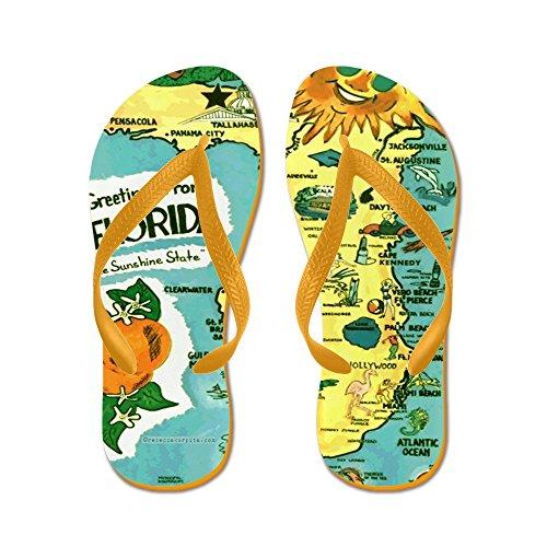 CafePress Vintage Florida Sun Map - Flip Flops, Funny Thong Sandals, Beach Sandals Orange