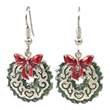 Surgical Steel Dangle Earrings Christmas Wreath Green and Silver Tone
