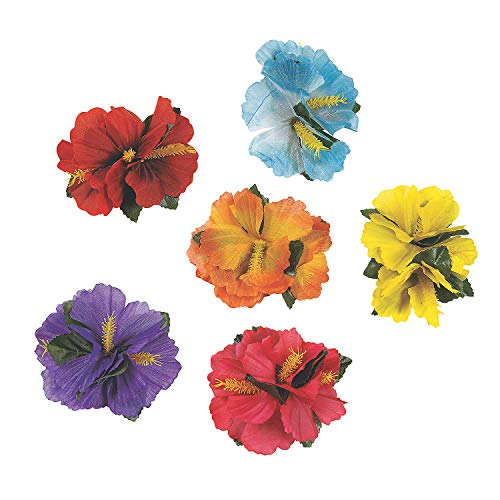 Hula Girl Hibiscus Flower Lei Hair Clips (12)