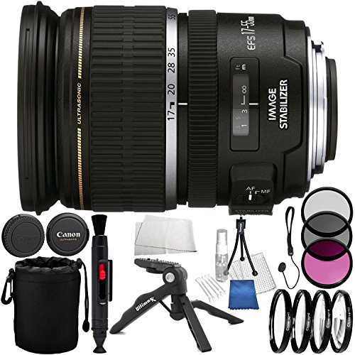 Canon EF-S 17-55mm f/2.8 IS USM Lens 8PC Accessory Bundle - Includes 3 Piece Filter Kit (UV, CPL, FLD) + 4 Piece Macro Close-Up Lenses + Lens Cleaning Pen + Tabletop Pistol Grip Tripod + MORE by Canon