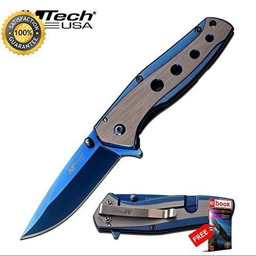 SPRING ASSISTED Folding Sharp KNIFE Mtech 3.5'' Blue Mirror Tinite Blade Tactical EDC Combat Tactical Knife + eBOOK by Moon Knives ()