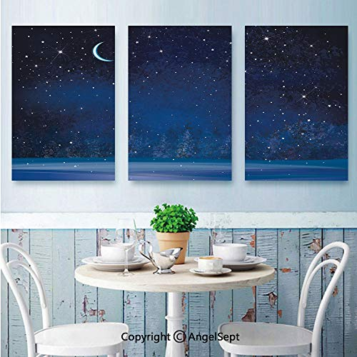 AngelSept 3 Piece Canvas Wall,Winter Wonderland at Night Snowy Woodland Magical Fantastic Forest Nature Scenery,for Modern Home Decor Stretched and Framed Ready to Hang,16