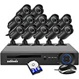 Zclever Wired Security Camera System,16ch 1080N Video Recorder with 2TB Hard Drive,12pcs Waterproof Outdoor Video Cameras with 60ft Night Version