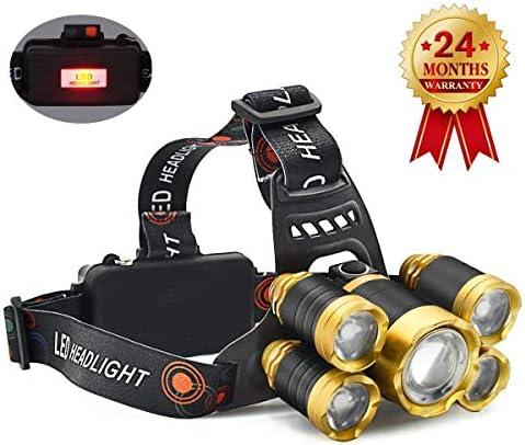 [スポンサー プロダクト]LED ヘッドライト 充電式 ヘッドランプ センサー機能 防水 超高輝度 5灯式 4段階の点灯モード 防災/登山/釣り/夜間作業/キャンプ/などに適用ヘッドライト 18650リチウムイオン蓄電池