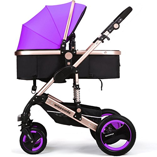 Luxury Newborn Baby Strollers Travel Systems Carriage Toddler Infant Stroller Pushchair Pram Foldable Anti-shock (Purple)