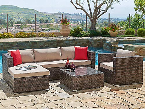 (SUNCROWN Outdoor Furniture Sectional Sofa & Chair (6-Piece Set) All-Weather Checkered Wicker with Brown Seat Cushions & Modern Glass Coffee Table | Patio, Backyard, Pool | Incl. Waterproof)