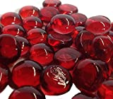 Dashington Flat Red Marbles, Pebbles (5 Pound Bag) for Vase Filler, Table Scatter, Aquarium Decor Gravel Accent