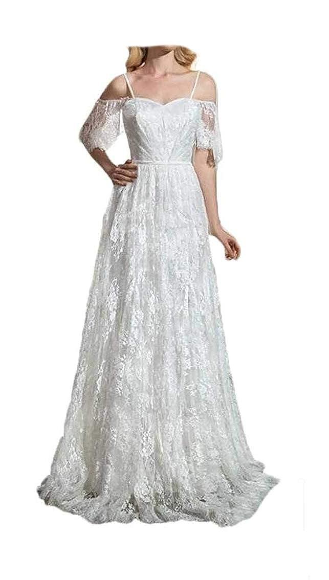 White Lnxianee Women's Bohemian Wedding Dresses Long Lace Boho Beach Bridal Gowns