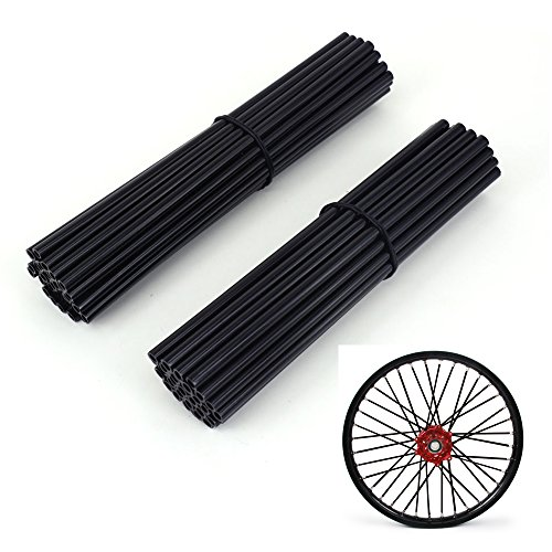 JFG RACING 72 Pcs Black Motorcycle Spoke Covers coats For 19