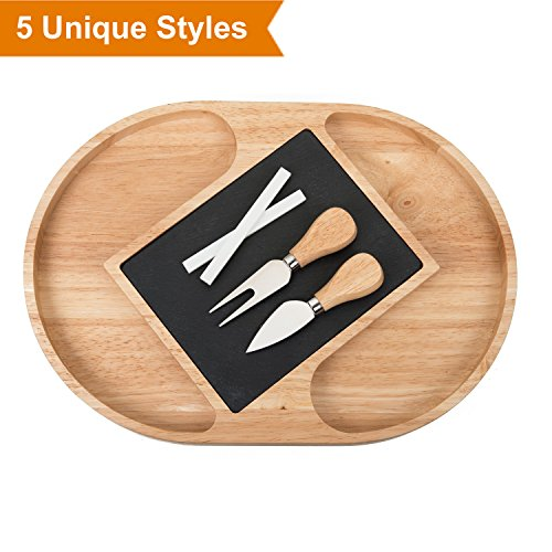 Slate and Wood Cheese Board Set, Include Cheese Tools, Chalk, Removeable Slate Cheeseboard Platter Tray for Easy Cleaning [14.5