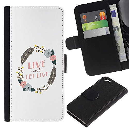 EuroTech - Apple Iphone 6 4.7 - Wreath Live And Let Feather Clean White - Cuir PU Portefeuille Coverture Shell Armure Coque Coq Cas Etui Housse Case Cover Wallet Credit Card