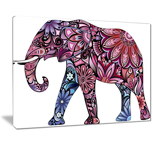 Designart PT7411-40-30 Purple Cheerful Elephant Animal Digital Art Canvas Print