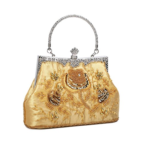 Party Asien Wedding Style Bags Roses Vintage Beaded Embroidered Evening Gold Clutch Sequin Purse Women's azxaTnwv