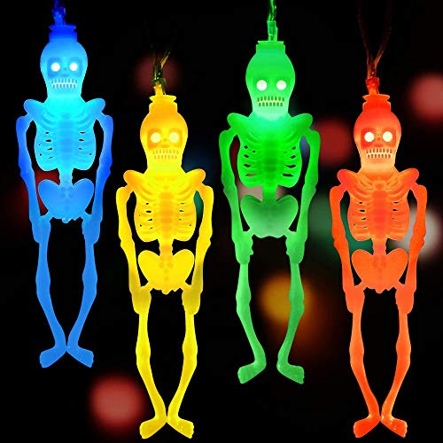 Battery Operated Halloween Decorations (LUDILO String Halloween Lights Decorations Halloween Skeleton Lights Skull Lights Battery Operated 20 LEDS Lights 10.5ft Flashing & Stationary Modes for Halloween Decor Indoor Outdoor)
