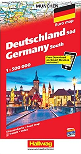 Road Map Of Germany 2017.Southern Germany Road Map English French Italian And German