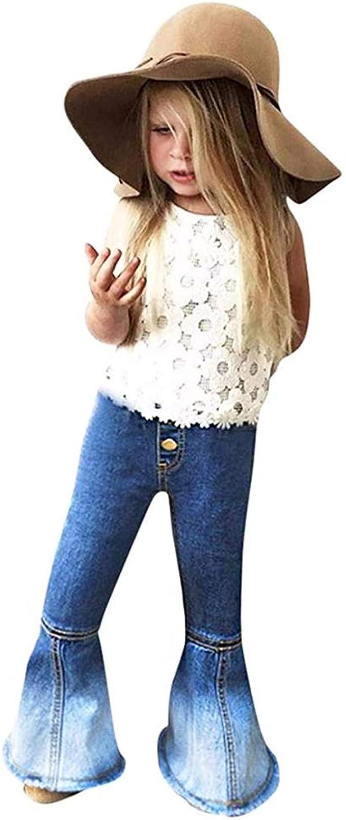 60s 70s Kids Costumes & Clothing Girls & Boys MODNTOGA Little Girls Vintage Jeans Bell-Bottoms Denim Pants Skinny Pants 2-6T $15.99 AT vintagedancer.com
