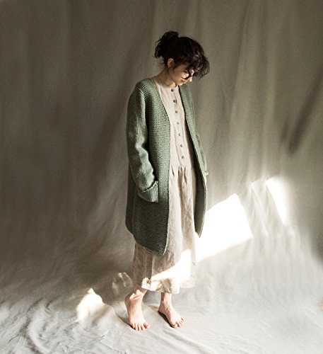 Knitted cardigan woolen cardi wool knit women's sweater knitwear woolen coat warm cardigan dusty green sweater jumper natural wool by Kinzzza