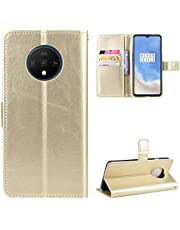 Snow Color Leather Wallet Case for OnePlus 7T Premium PU Leather Folio Flip Cover with Kickstand and Credit Slots for OnePlus 7T - COBYU030998 Gold