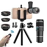 Vorida Smartphone Camera Lens 6 in 1 Cell Phone Camera Lens 12X Telephoto Lens + 198° Fisheye Lens+ 0.6X Wide Angle Lens+ 15X Macro Lens+ Tripod+ Remote Shutter Compatible for iPhone X 8 7 6 Plus, Samsung, etc.