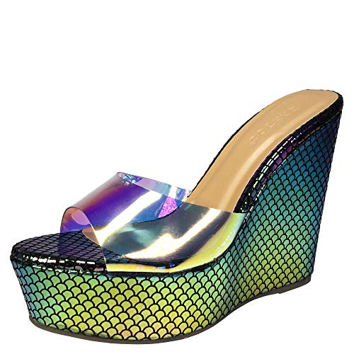 BAMBOO Women's Clear Band Platform Wedge Slide, Multi Color Snake PU, 7.0 B US