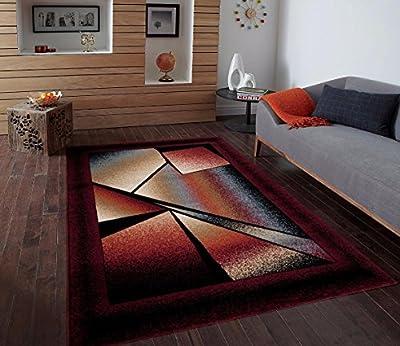 Burgundy Ivory Beige Area Rug Modern Carpet Large New