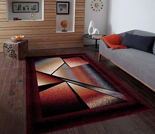Burgundy Ivory Beige 7'10x10'2 Area Rug Modern Carpet Large New