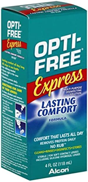 Opti-Free Express Lasting Comfort No Rub Contact Lens Solution, 4-Ounce Bottles (Pack of 4) by Opti-Free