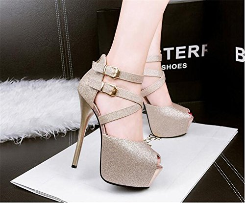Prom Peep Dress Strappy Toe Womens Sandals Shoes High Gold Platform Sandals Heel Shoes Stiletto RApfxBqwT