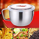 Kaimao Stainless Steel Bowl Camping Cooking Soup Ramen Noodle Pasta Bowl with Lid & Handle Microwave Oven Induction Cooker Applied for Toddlers Children Adults from