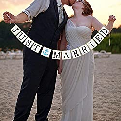 Vintage Just Married Banner Garland Wedding Decor - Nautical Theme Wedding Bridal Shower Party Decorations