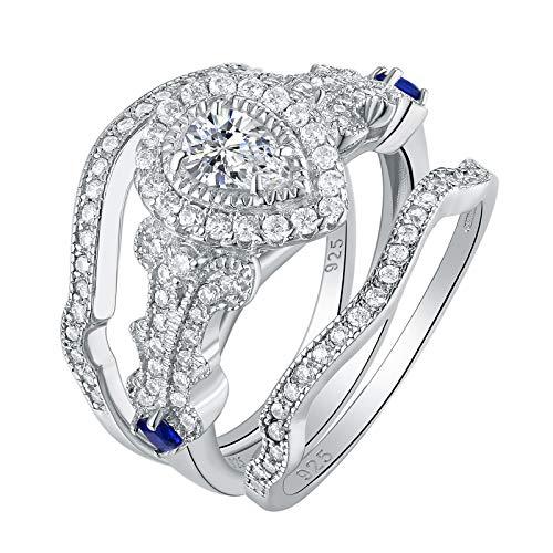 1780a9aef907a Wuziwen Wedding Engagement Ring Set for Women Sterling Silver 3pcs 2.3Ct  Pear Cz Blue Sa..