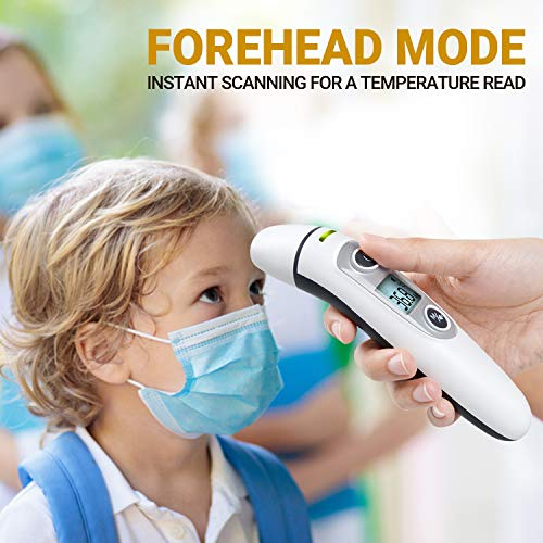 Premium Infrared Thermometer - Adult Thermometer - Baby Thermometer - Forehead Thermometer - Ear Thermometer - Portable, Durable - Accurate Readings - Easy to Use Thermometer for Seniors - Contactless