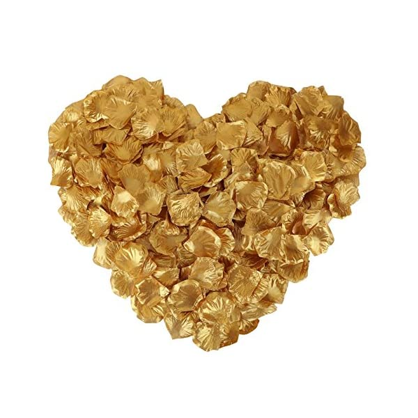 Jasmine 1000 Pieces Non-woven Rose Petals Artificial Flower Petals for Wedding Confetti Valentine Day Flower Décor,Gold