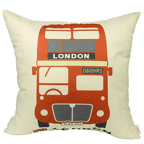 Luxbon - The Routemaster Red London Bus Cotton Linen Throw Pillow Case Cushion Cover 18 x 18/45X45CM Insert Not Included