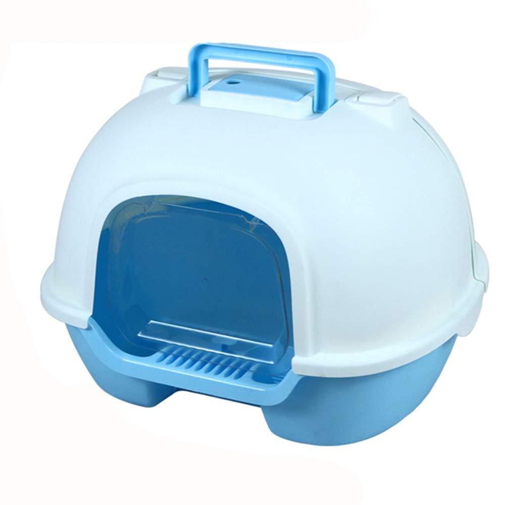 bluee 50cm41cm39cm bluee 50cm41cm39cm Fully Enclosed Cat Sand Basin, Super Large Anti-Splash, Anti-Odor, Cat Supplies(50cm41cm39cm,bluee)