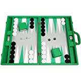 19-inch Premium Backgammon Set - Large Size - Green Board