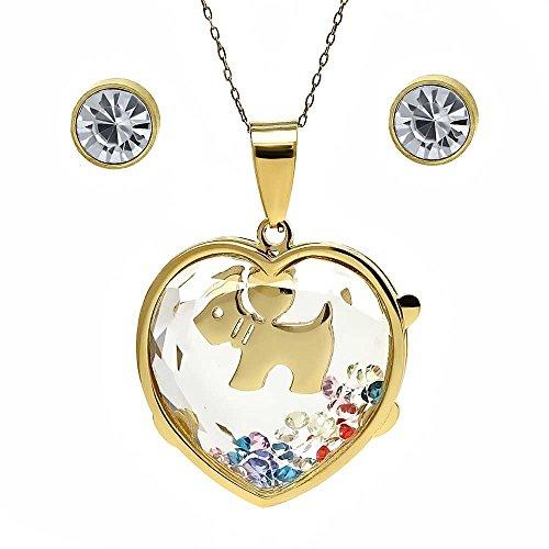 - Gem Stone King Stainless Steel Scottish Terrier Encased Floating Necklace Earrings Set + Chain