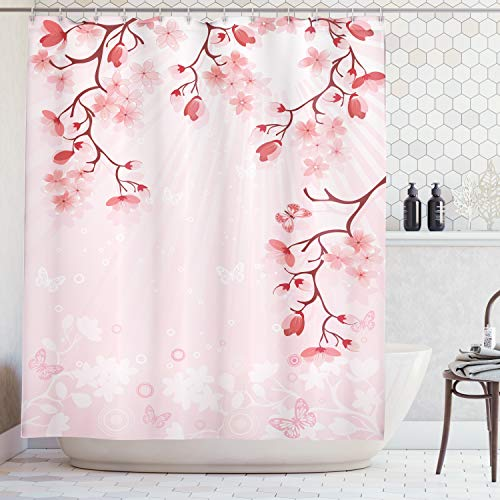 Ambesonne Asian Decor Collection, Japanese Cherry Blossom Sakura Buds Springtime Travel Destinations Seasonal Image Print, Polyester Fabric Bathroom Shower Curtain Set with Hooks, Salmon Pink