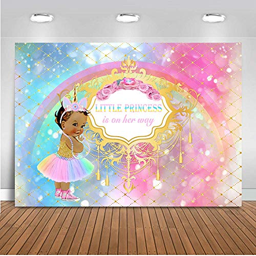 - Mehofoto Unicorn Baby Shower Backdrop Princess Rainbow Sparkle Photography Background 7x5ft Vinyl African American Girl Party Backdrops Banner Decoration
