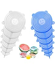 Silicone Stretch Lids 12PCS Reusable Durable and Flexible Expandable Silicon Seal Cover Set to Fit 6 Various Sizes Shape of Containers (Blue/Transparent, 12)