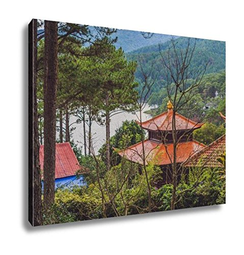 Ashley Canvas, View Of Buddhist Temple And Lake, Home Decoration Office, Ready to Hang, 20x25, AG6494689 by Ashley Canvas