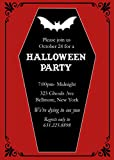 75 Coffin with Bat Halloween Party Invitations with Envelopes