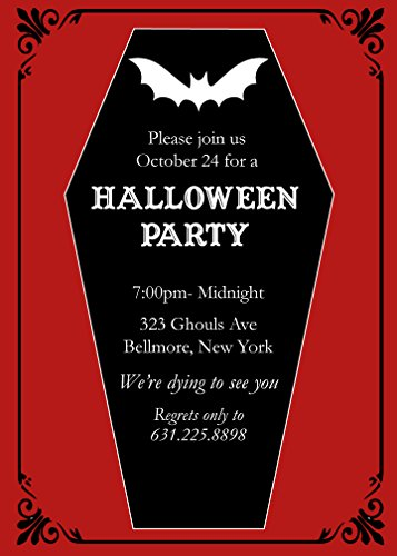 25 Coffin with Bat Halloween Party Invitations with (Coffin Halloween Invitations)