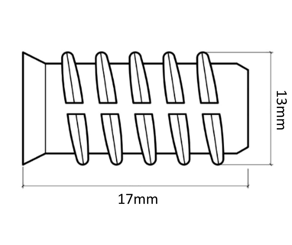 50 Tuercas de inserci/ón para ensamblaje de muebles de madera M10 13//17mm C41744 AERZETIX